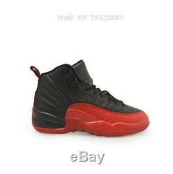 Nike Air Jordan 12 Retro BG RARE Black Red Kids Boys Girls Trainers (PTI)