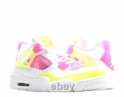 Nike Air Jordan 4 Retro SE (GS) White/Lemon-Pink Big Girls Shoes CV7808-100