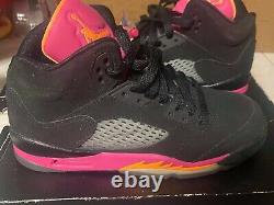 Nike Air Jordan 5 Retro GS Shoes Black & Pink Youth 440892-067 Size 5.5