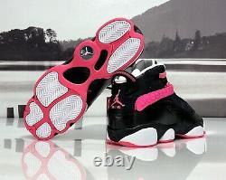 Nike Air Jordan 6 Rings 4Y /Women's 5.5 Black Pink Basketball Shoes 323399-061