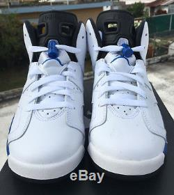Nike Air Jordan 6 VI Retro GS White Blue Dodgers 384665 107 Girl Boy Kids Shoes