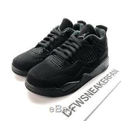 Nike Air Jordan Retro 4 Black Cat PS Size 3Y Boys Girls Shoes BQ7669 010