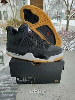 Nike Air Jordan Retro 4 Black Gum Laser SE SIZE 6y GS kids boys girls