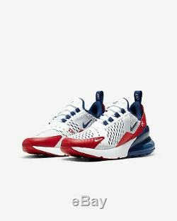 Nike Air Max 270 White Obsidian University Red Kids Boys Girls Shoe All Sizes