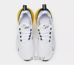 Nike Air Max 270 White Yellow Kids Boys Girls Trainers All Sizes