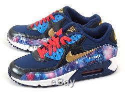 Nike Air Max 90 Premium Leather (GS) Metallic Hematite/Gold-Blue 724879-004 Kids