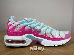 Nike Air Max Plus GS Running Shoes White Pink Mint Green Size 5Y 718071 102