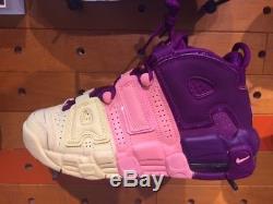 Nike Air More Uptempo Citron Pink Purple GS Sz 4-7Y Girls Kids Women AV8237-800
