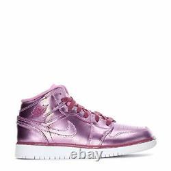 Nike Girl's Air Jordan 1 Mid Pink Sz 6.5y AV5173-640 Basketball Shoes