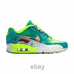 Nike Girl's Air Max 90 Premium Green/Yellow Sz 4.5y 838768-374 Fashion Shoes