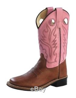 Old West Cowboy Boots Girls Kids Rubber Tan Canyon Pink BSY1839