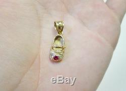 P3 Cute REAL 14K Yellow GOLD Girl SHOE PENDANT charm with Ruby & Rhinestones Child