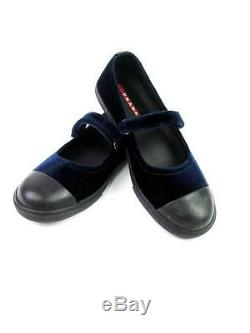 Prada Milano Kids Girls Black Blue Velvet Mary Jane Slip On Flats 3/34 Nib $380