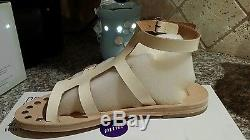 Pedro Garcia Kids Mini Zerane Leather Sandal Girl $378 Euro 31 White Gloss NIB