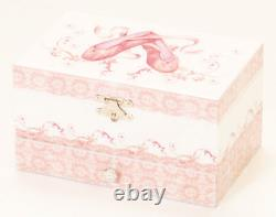 Pink Girls Ballet Shoes Moving Ballerina Musical Jewellery Box With Drawer