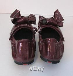 Prada Children Kids wine red patent leather ballet flat bow logo 30 Girls 12