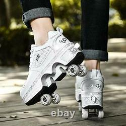 Roller Skates for Women Outdoor, Parkour Shoes with Wheels for 5.5US White4