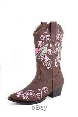 Roper Western Boots Girl Heart Snip 12 Child Brown 09-018-1556-0456 BR