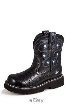 Roper Western Boots Girls Cowboy Kids Chunk Lug Sole Croc Child Black
