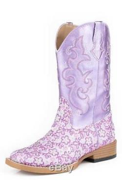 Roper Western Boots Girls Floral Glitter Purple 09-018-1901-1520 PU