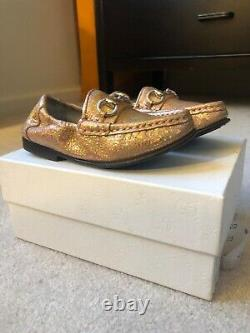 S-988940 New Gucci Salmone Sparkle Horsebit Loafer Shoes Size 25