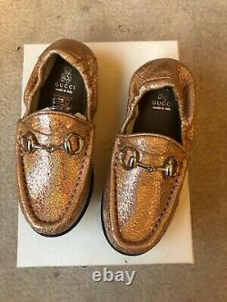 S-988940 New Gucci Salmone Sparkle Horsebit Loafer Shoes Size 26