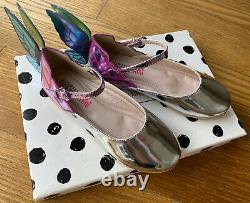 SOPHIA WEBSTER Girl Silver Metallic Chiara Shoe With Butterfly Wing 30 12.5