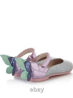 Sophia Webster Mini Infant Girls Chiara Shoes Glitter Leather Size 6 Butterfly