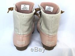 Sperry Top-sider Girls Kids Saltwater Canvas Duck Boots New Rose/Oat Size 5