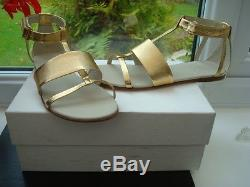 Stunning Authentic Gucci Kids Girls Gold Gladiator Sandals Leather. UK 1, 33