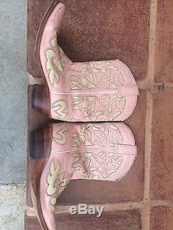 TENDERFOOT Rare Children's Girls Ballet Pink Leather Cowboy Boots Sz 3