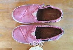 Toms Toddler Little Kid Girl Pink Chambray Bimini Classic Slip On US 10 11 NWB