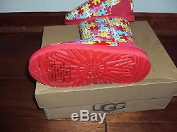 UGG 3 Kids Girls Red Art & Sole Puzzle Winter Boots Limited Edition Womens 5