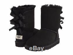 UGG Australia Bailey Bow II Black Boot Big Kid Girl's sizes 13-6 NEW