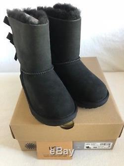 UGG Australia Bailey Bow II Black Boot Kid's Girl's sizes 13-6 NEW