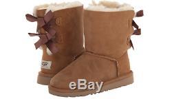 UGG Australia Bailey Bow II Chestnut Boot Big Kid Girl's size 1 NEW