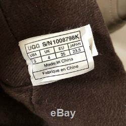 UGG Australia Big Kids Girls Fern Mid Calf Leather Boots Brown Zip Up Size 5
