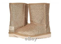 UGG Australia Classic Short II Glitter Gold Boot Kid's Girl's sizes 13-6 NEW
