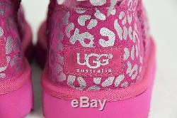 UGG Australia GIRLS KIDS BAILEY BOW BOOTS PINK SILVER PRINT 13 ANIMAL