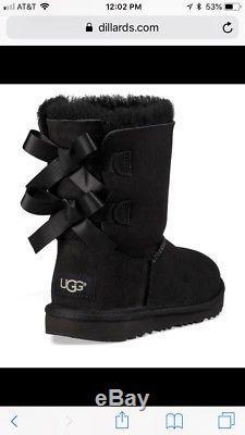 UGG Australia Girl Kids Bailey Bow Boot Sheepskin Leather Suede Black Size 12 US