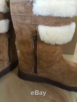 UGG Australia Girls SKYLIR Chestnut Suede and Sheepskin Boots NWB Size 4 Big Kid