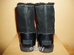 UGG Australia Isley Big Kids Girls Blk Waterproof Winter Pom Pom Boots New US 6