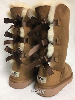 UGG Australia Kids Bailey Bow Triplet Triple Tall Boot 1007309 K Chestnut Girls