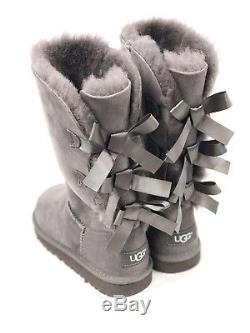 UGG Australia Kids Bailey Bow Triplet Triple Tall Boot 1007309K Grey Girls