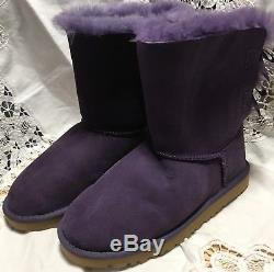 UGG Australia Kids Girls Bailey Bow 3280 Shearling Purple Suede Boots Size 3