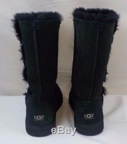UGG Australia Triplet Bailey Button Boots Big Girls Kids size 4 Black Youth