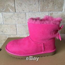 UGG Bailey Bow II Pink Suede Sheepskin Mini Boots US 6 Youth Kid Girl = Women 8