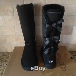 UGG Bailey Bow Triplet Triple Tall Boots Black Suede Size US 2 Youth Girls Kids