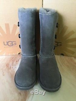 98af1fef9b8 Ugg Bailey Button Triplet Girls Tall Boots Nwb Gray Color Size 6 Big ...