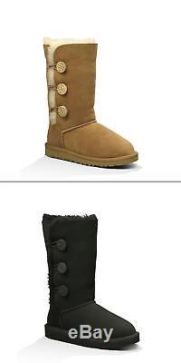 UGG Big Kids/Youth Girls Bailey Button Triplet Sheepskin Winter Snow Long Boots